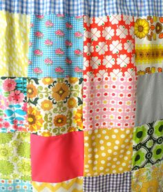 ...patchwork curtains to hide washing machines  :)