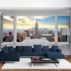 Z pewnością jedna z ciekawszych propozycji wśród wzorów jeśli chodzi o architekturę! Fototapeta 3D na flizelinie przedstawiająca Nowy Jork świetnie się sprawdzi w każdym salonie czy sypialni.  Taka fototapeta optycznie powiększy nasze wnętrze i nada mu niesamowity klimat. Fototapeta przedstawia widok na Nowy Jork z nietuzinkowej perspektywy. Taki wzór z pewnością będzie przyciągał wzrok naszych gości, jak i domowników. New York Tapete, Living Room Designs, Living Room Decor, Narrow Living Room, Bedroom Murals, Outdoor Furniture Sets, Outdoor Decor, Wall Wallpaper, Cheap Home Decor