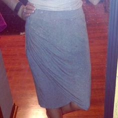 Grey Asymmetrical Wrap Skirt Jersey fabric, wrap style skirt in light gray from Mossimo. Worn once! Excellent condition! Mossimo Supply Co Skirts