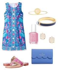 Summer outfit by rosiek0303 on Polyvore featuring polyvore, fashion, style, Lilly Pulitzer, Jack Rogers, Kate Spade, Sarah Chloe, Kendra Scott, J.Crew, Essie and clothing