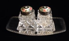 DAVID ANDERSEN Silver and Enamel Tops Glass SALT & PEPPER on Silverplate Tray