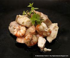 il pesce facile: spezzatino di ricciola, palamita, gamberi viola e salmone al profumo di finocchietto