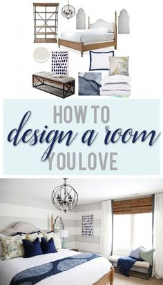 Tips on How To Design a Room You Love. Great design tips and advice. Such a beautiful bedroom with blue and white decor. striped walls. woven shades. and an orb chandelier.