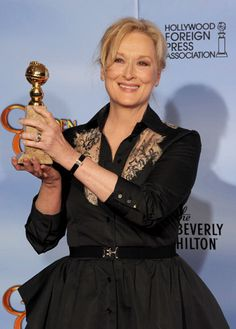 Meryl Streep, the winner of the Best Performance by an Actress in a Motion Picture - Drama award for The Iron Lady at the 69th Annual Golden Globe Awards, chose to wear a Jaeger-LeCoultre 101 Etrier for her appearance on the Red Carpet during this exceptional evening