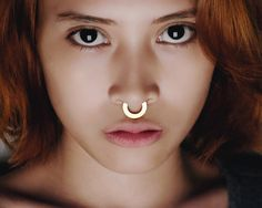 Gold Septum Ring  Gold Nose Ring   Septum Ring  by eleven44jewelry