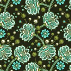Preciosa tela de patchwork con flores en verdesy turquesas.  De Tula Pink.