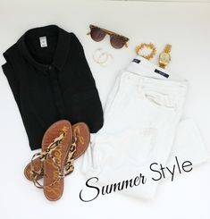 If you stopped by my house and said let's go get a bite to eat, and I had to get dressed quickly, this would be my go-to outfit. White jeans, a black blouse and leopard print sandals. Perfect summer style.