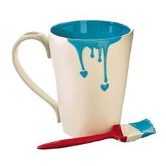 """Dripping Paint Mug and """"paint brush"""" spoon"""