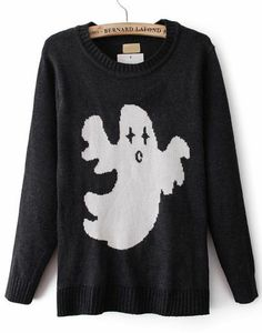 Black Long Sleeve Ghost Pattern Knit Sweater pictures
