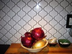 Close up: White Arabesque porcelain tiles, silver/gray grout as part of Ikea kitchen renovation  Wildly Domesticated: Ara-basking in New Backsplash