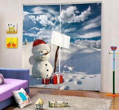 3D Cute Sweet Snowman Printing Thicken Blackout Curtain Custom Children's Curtain for Living Room Kids Christmas Gift