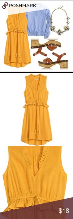 H&M Mustard Dress This cute dress is in perfect condition. It is 100% viscose and the lining is 100% polyester. The tag has been cut out but it is a size x-large. H&M Dresses
