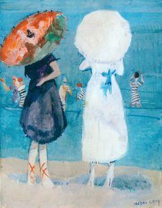 Due bagnanti in riva al mare con il parasole, 1916 Moses Levy,La magica estate dell'arte  A spasso per la penisola in cerca di capolavori  Gabriele Drago