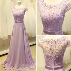 Cap Sleeve Light Purple Long Chiffon Prom Dress A Line Party Dresses Bridesmaid Dress