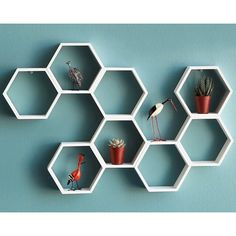 Create some buzz with the Honeycomb Decorative Accent Shelf & Busy Bee Wall Clock Honeycomb Shelves, Hexagon Shelves, Geometric Shelves, Wall Clock Wooden, Wooden Walls, Wall Clocks, Shelf Design, Wall Design, Creation Deco