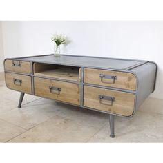 Elderflower Lane - Stylish Retro Industrial Metal & Wood Coffee Table With Drawers.