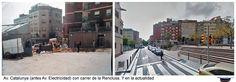 Av. Catalunya (antes Av. Electricidad) con carrer de la Renclusa y en la actualidad.