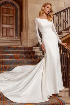 Discover our full collection of ball gowns, fish tail, A-line and sheath dresses and fall in love with your perfect wedding dress. Find your nearest stockist today! Vintage Inspired Wedding Dresses, Stunning Wedding Dresses, Perfect Wedding Dress, Crepe Wedding Dress, Bridal Wedding Dresses, Bridal Style, Wedding Themes, Ellis Bridal, Fit N Flare Dress