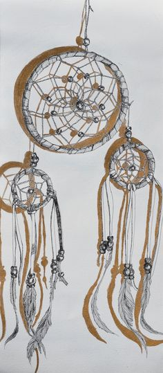 Original Dreamcatcher Drawing with Gold Leaf by Cavyaesthetic, $60.00