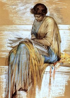 Albert Joseph Moore (1841-1893) was an English painter, known for his depictions of langorous female figures set against the luxury and decadence of the classical world.