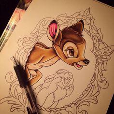 bambi tekenen - Google zoeken Disney Drawings, Cute Drawings, Bambi Tattoo, Make Tattoo, Tattoo Art, Disney Sleeve, Punk Disney Princesses, Intricate Tattoo, Disneyland