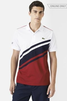 Lacoste Short Sleeve Ultra Dry Diagonal Stripe Color Block Polo : Polo Shirts