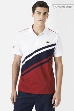 Lacoste Short Sleeve Ultra Dry Diagonal Stripe Color Block Polo : Polo Shirts
