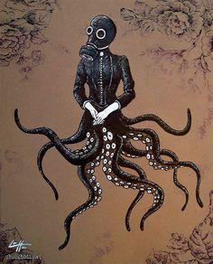 "Print 8x10"" - Victoriandustrial 6 - Victorian Octopus Industrial Revolution Tentacles Steampunk Fantasy Edwardian Gothic Gas Mask. $7.00, via Etsy."