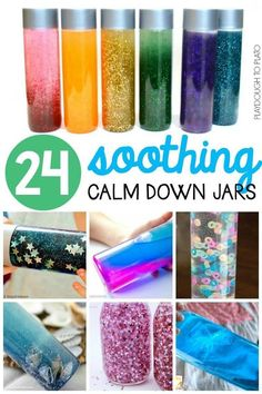 24 Soothing Calm Down Jars for kids of all ages. Great classroom or household management hack when kids need to handle big emotions. A must have for any toddler time, preschool or kindergarten class!
