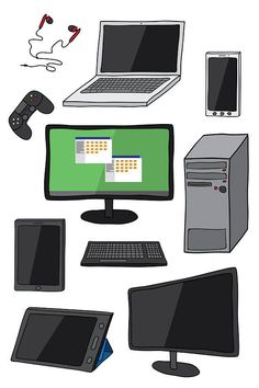 Computer and Electronic Gadget Hand Drawn Clipart Set, High Res, JPG, PNG and Vector formats Electronics Projects, Electronics Gadgets, Technology Gadgets, Electronic Gadgets For Men, Spy Gadgets, Best Buy Geek Squad, Ethereal Makeup, Wallpaper Computer, Computer Drawing
