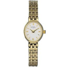 This Rotary ladies' PVD gold-plated bracelet watch features a white, oval face, fully waterproof and supplied with a Lifetime Guarantee.