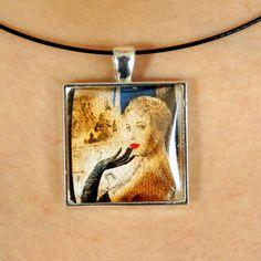 Magnifique collier avec pendentif fait avec un timbre de 1955 de France - La Ganterie by PetiteMeduse on Etsy