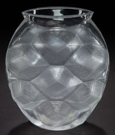 LALIQUE CLEAR GLASS TORTUES VASE  Circa 2000  Engraved: Lalique, France