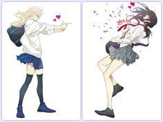 Anime Girlxgirl, Yuri Anime, Anime Kiss, Anime Art, Manhwa, Avatar, Hipster Drawings, Manga Drawing, Drawing Faces