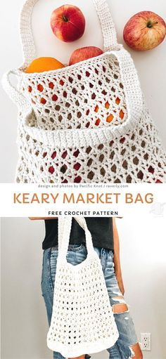 The Best Eco Crochet Market Bags.  This amazing market bag is a classic - it's not only perfect for beginners, but also really fast to make and extremely practical.  You'll make it in no time with some leftover yarn that you have. Great way to reduce plastic use in your home!  #freecrochetpattern #market #bag Free Crochet Bag, Crochet Market Bag, Crochet Gratis, Quick Crochet, Crochet Tote, Knit Crochet, Plastic Bag Crochet, Crocheted Purses, Bag Sewing Pattern