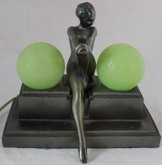 Frankart Art Deco Nude Woman Lamp with Frosted Globes $3600   #Frankart #artdeco #Frankartlamp
