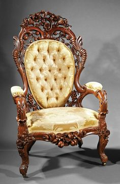 c1860 Rococo side chairs, JH Belter, NYC, Cornucopia pattern, 47t, 15-33.