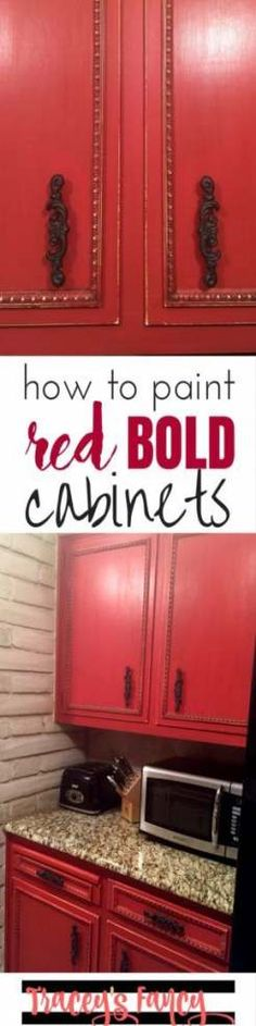These red cabinets in the kitchen are just gorgeous! For an easy kitchen update, paint your cabinets a bold fun color using Heirloom Traditions chalk paint. Cabinet Painting by Tracey's Fancy - San Antonio cabinet painter Kitchen Color Red, Painting Cabinets, Painting Kitchen Cabinets, Red Cabinets, Cupboard Makeover, Kitchen Cabinet Remodel, Cabinet, Cabinet Makeover, Kitchen Cabinets Makeover