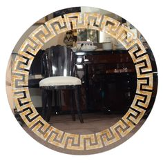 Eglomise Greek Key Round Mirror American c. 1945 Elegant round mirror with Eglomise reverse gilt and silver leaf details with Greek Key design, and black lacquered exterior border. Local Hardware Store, Putting On Makeup, Smoke And Mirrors, Making Life Easier, Living Room Remodel, Key Design, Greek Key, Round Mirrors, Living Room Designs