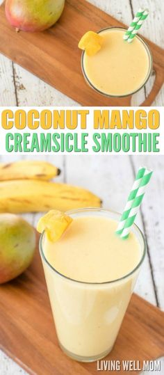 """This Coconut Mango Creamsicle Smoothie has a delicious blend of mango and coconut milk, plus a secret healthy ingredient that adds the """"creamsicle"""" factor! Dairy-free, refined sugar-free, Paleo recipe"""