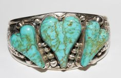 CONTEMPORARY NAVAJO TOOLED CUFF BRACELET TURQUOISE HEARTS DAVID TROUTMAN $500+