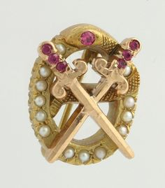 Theta Chi Fraternity Badge - 10k Yellow Gold Synthetic Rubies Seed Pearls Pin  $199.99