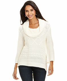 Style&co. Cable-Knit Cowl-Neck High-Low Sweater