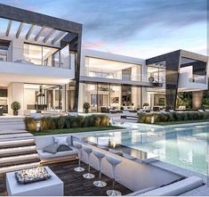 Haus in LA dream house luxury home house rooms bedroom furniture home bathroom home modern homes interior penthouse Dream Home Design, Modern House Design, Luxury Modern House, Luxury Villa, Villa Design, Luxury Living, Modern House Exteriors, Modern Mansion Interior, Beautiful Modern Homes