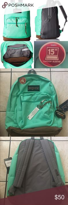 """NWT JANSPORT SEAFOAM GREEN BACKPACK Brand new JANSPORT Seafoam Green backpack. Bottom is leather, it has a 15"""" laptop sleeve. No defects. Any questions ask below! Make me an offer!!! Jansport Bags Backpacks"""