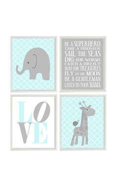 Nursery Art Elephant Giraffe Quatrefoil Nursery Prints Gray Aqua Baby Boy Wall Art Love Baby Nursery Decor Playroom Rules Quote - 4 8x10