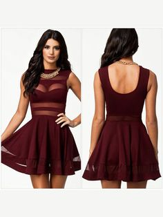 Slim Round Neck Polyester Tulle Patchwork Dress