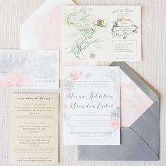 custom watercolor invitations -  Erin Braun www.erinbraundesign.com | Twah Dougherty photography