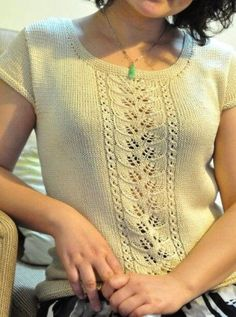 knitted blouse with leaf pattern