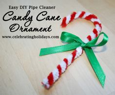 Candy Cane Pipe Cleaner Ornament for Christmas | Celebrating Holidays